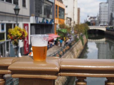 堀川とビール.JPG
