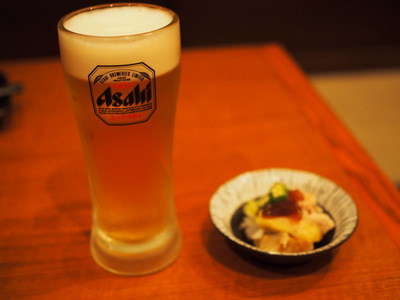 ビールとお通し.JPG